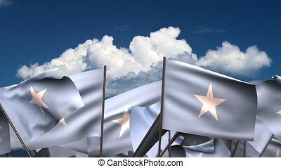 Waving Somalian Flags