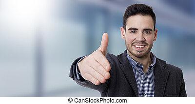 waving, sorrindo, homem jovem