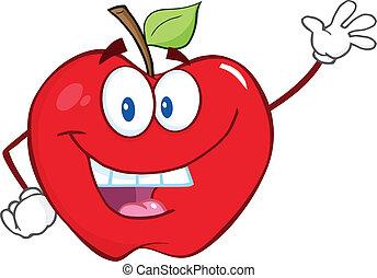 waving, sorrindo, maçã, saudação