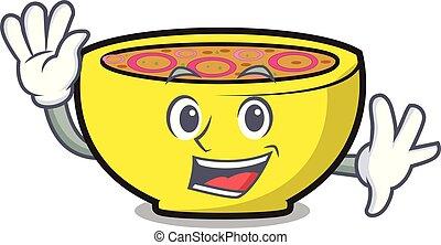Waving soup union character cartoon