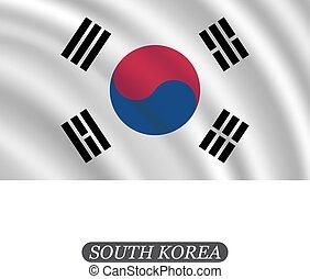 Waving South Korea flag on a white background. Vector illustration