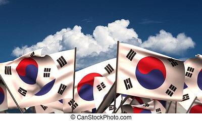 Waving South Korean Flags