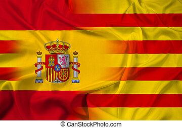 Waving Spain and Catalonia Flag