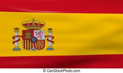 Waving Spain Flag, loop ready.