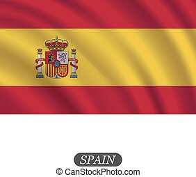 Waving Spain flag on a white background. Vector illustration
