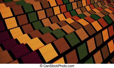 Waving squares in various colors on black