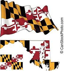 Waving State Flag of Maryland Flag