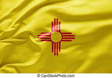 Waving state flag of New Mexico - United States of America
