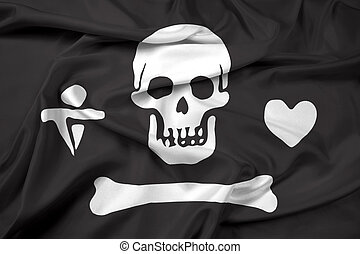 Waving Stede Bonnet Pirate Flag