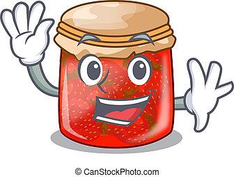 Waving strawberry marmalade in glass jar of cartoon