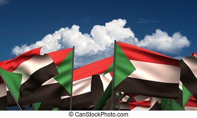 Waving Sudanese Flags