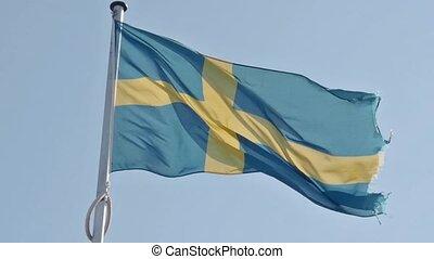 Waving Swedish flag in retro colors - Waving Swedish flag on...
