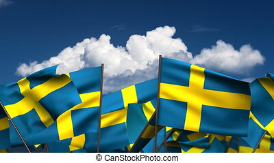Waving Swedish Flags (seamless & alpha channel)