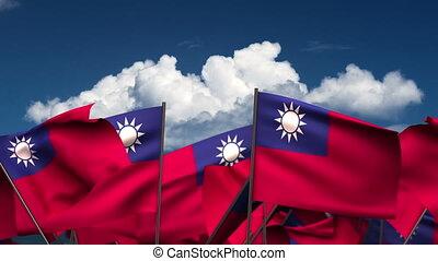 Waving Taiwanese Flags