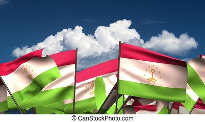 Waving Tajik Flags