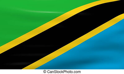Waving Tanzania Flag, ready for seamless loop.