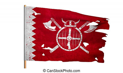 Waving tattered ragged flag of medieval Viking knights. 3D...