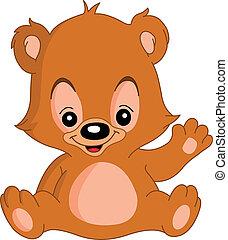 Waving teddy bear - Cute teddy bear waving his hand