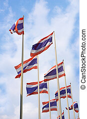 flag of Thailand with blue sky background