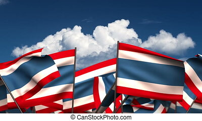 Waving Thai Flags (seamless & alpha channel)