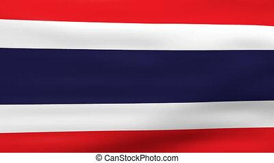 Waving Thailand Flag, ready for seamless loop.