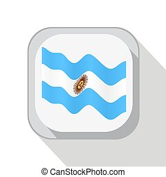 Waving the flag of Argentina on the button. Vector illustration.