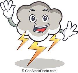 Waving thunder cloud character cartoon vector illustration