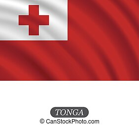 Waving Tonga flag on a white background. Vector illustration