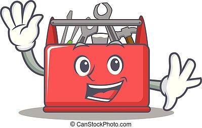 Waving tool box character cartoon