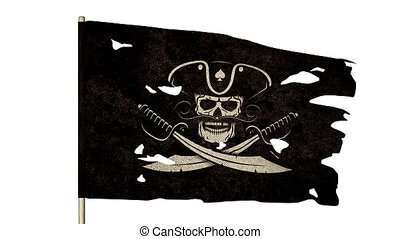 Waving torn pirate flag with jolly roger skull in cocked hat and crossed sabers