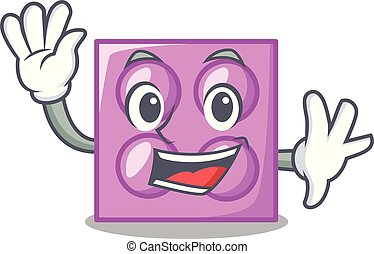 Waving toy brick character cartoon