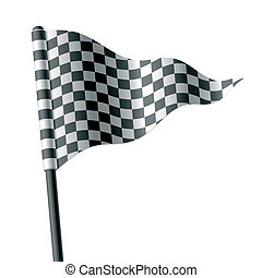 Waving triangular checkered flag - Vector illustration of...