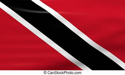 Waving Trinidad and Tobago Flag, ready for seamless loop.
