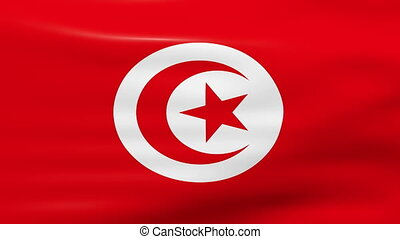 Waving Tunisia Flag, ready for seamless loop.
