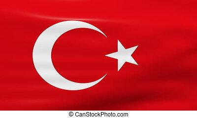 Waving Turkey Flag, loop ready.
