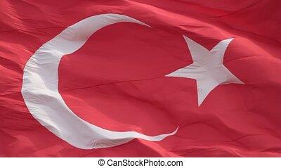 Waving Turkish flag, full screen, silent HD video