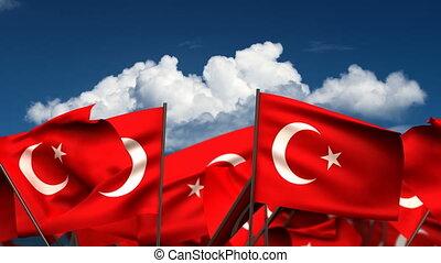 Waving Turkish Flags