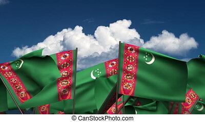 Waving Turkmen Flags (seamless & alpha channel)