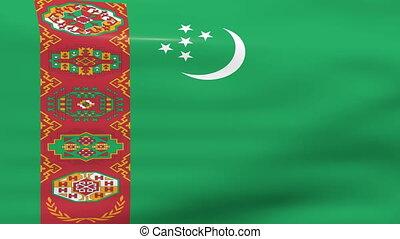 Waving Turkmenistan Flag, ready for seamless loop.