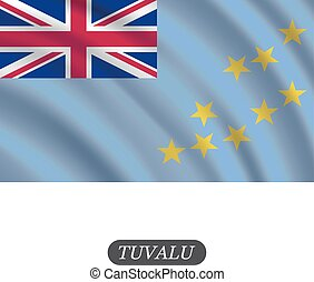 Waving Tuvalu flag on a white background. Vector illustration