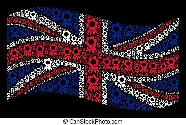 Waving UK Flag Collage of Award Icons