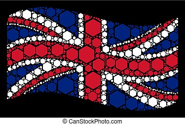 Waving UK Flag Collage of Filled Hexagon Items