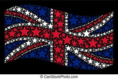 Waving UK Flag Collage of Five-Pointed Star Icons