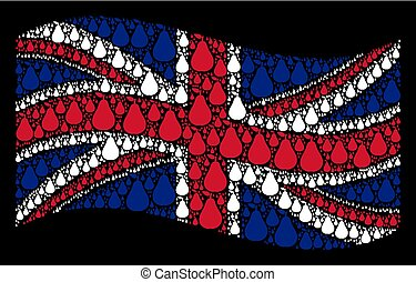 Waving UK Flag Collage of Pear Items