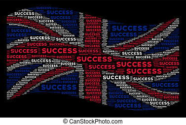 Waving UK Flag Collage of Success Text Items