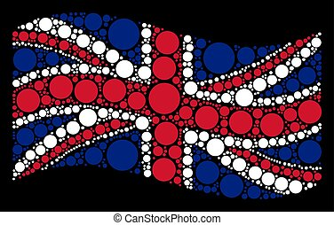 Waving UK Flag Mosaic of Circle Items