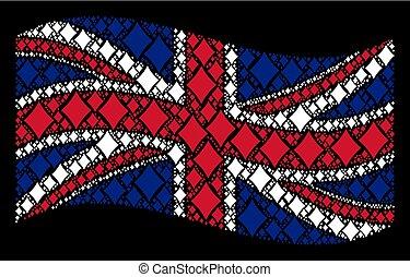 Waving UK Flag Mosaic of Diamonds Suit Icons