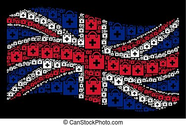 Waving UK Flag Mosaic of First Aid Kit Icons
