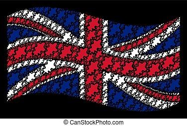 Waving UK Flag Mosaic of Oak Leaf Icons
