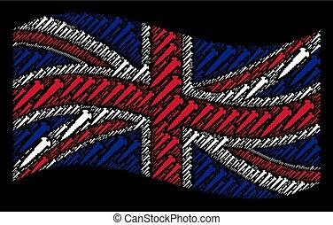 Waving UK Flag Mosaic of Screw Items
